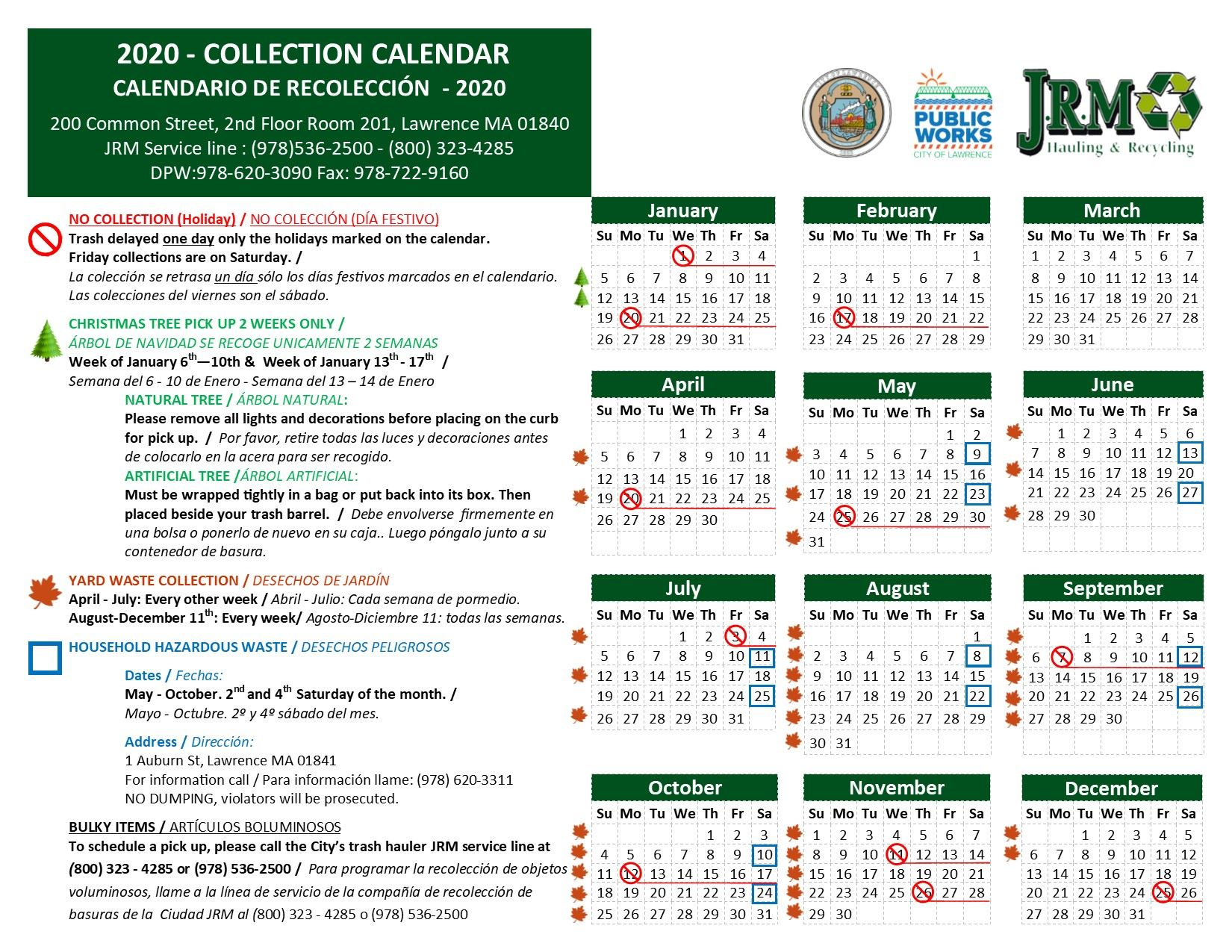2020 COLLECTION CALENDAR